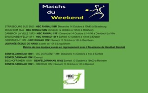 Les rencontres du week-end du 12 au 14 Octobre